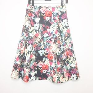 Esley floral watercolor midi skirt . Gorgeous! XS